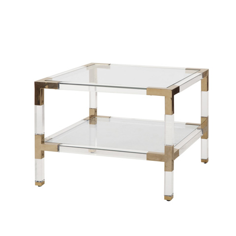 Worlds Away - Two Tier Acrylic Side Table - CONNOR BR