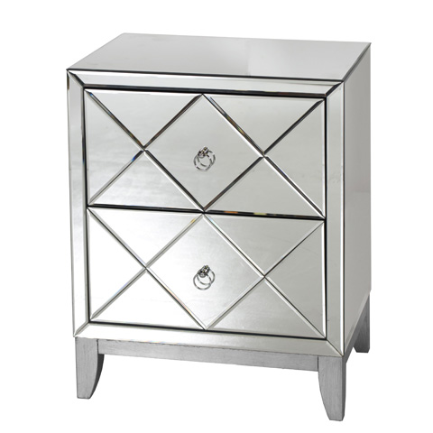 Worlds Away - Two Drawer Mirrored Side Table - DYLAN