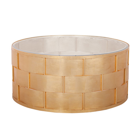 Worlds Away - Basket Weave Coffee Table In Gold Leaf - GWEN G