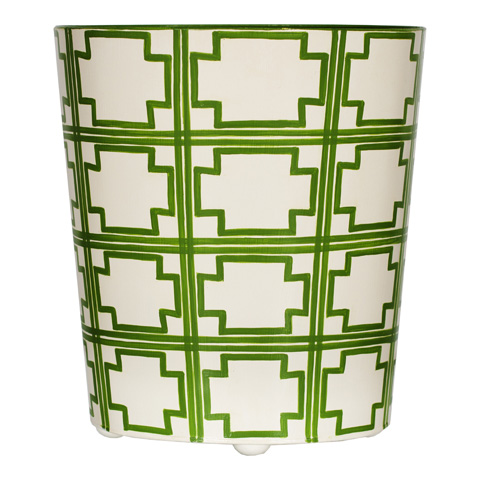 Worlds Away - Oval Wastebasket in Green and Cream - WBSQUAREDGR