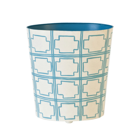 Worlds Away - Oval Wastebasket in Turquoise and Cream - WBSQUAREDT